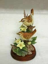 1992 Andrea by Sadek Porcelain Carolina Wrens w/Yellow Jasmine Bird Figurine