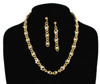 "Faux Pearl Gold Tone Chain Link Drop Earrings 2 1/2"" Necklace 18"" Jewelry Set"