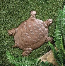 """2 Rustic Cast Iron Detailed Turtle Garden Decorative Stepping Stone 12.25"""" Tall"""