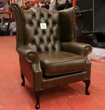 CHESTERFIELD QUEEN ANNE HIGH BACK WING CHAIR VINTAGE OLIVE DARK GREEN LEATHER