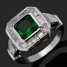 Trendy Wedding Size10 Solitaire Bridal Emerald 18K Gold Filled Mens Womens Rings