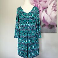 Boden Womens Teal Blue Floral Print 3/4 Sleeve Stretch Tunic Dress Size 8 Boho