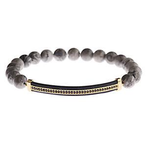 Men Women Micro Pave Gold Plated Strip Beads Bracelets Lava Landscape Stone New