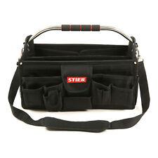 STIER Werkzeugtasche Premium+ leer schwarz 24 Fächer reißfest mit Schultergurt