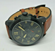 Mens Fossil Grant Black Dial Chronograph Brown Leather Strap Watch FS5241