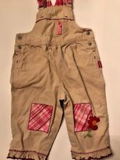 Carter's Celebrating Childhood girls size 12-18 months tan overalls pink patches