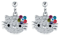 Hello Kitty Cat 18k White Gold Austrian Crystal Dancle Multi color Earrings