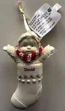 SNOWBABIES Personalized DAVID - Porcelain Stocking Ornament by Department 56
