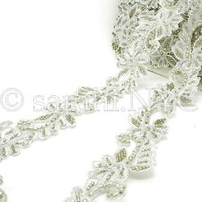 White Silver Sequin Beads Fabric Trim trimming,Embellishment,co stume,pageant
