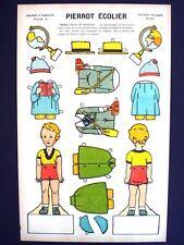 Vintage Pellerin Imagerie Pierrot Ecolier Bright Vivid Uncut Paper Dolls Inv1395
