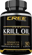 CREE Nutrition Krill Fish Oil Supplement w/ Omega 3 & Astaxanthin 30 Capsules