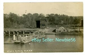 Jordan NY - STATE DITCH FERRY ACROSS ERIE CANAL - RPPC Postcard