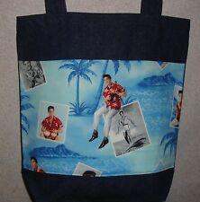 NEW Large Denim Tote Bag Handmade/w Elvis Presley Blue Hawaii Photo Fabric