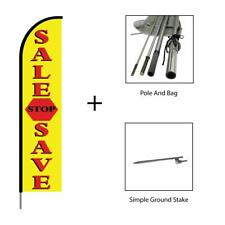 Sale Stop Save Feather Flag Swooper Banner Pole Kit Advertising Sign 15ft Yellow