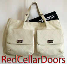 Auth NEW CHANEL Ivory Caviar Leather Weekender Bag XLTote Mademoiselle Pockets