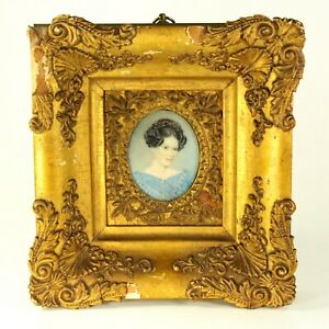^Antique c.1830 Signed FINE Miniature Portrait of a Beautiful Lady in Gilt Frame