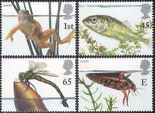 GB 2001 Europa/Pond Life/Frog/Beetle/Dragonfly/Fish/Nature 4v set (n42023)