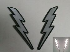 """(A2043) PAIR of REFLECTIVE Lightning Bolt 1.5"""" x 5"""" patches (3454) Left / right"""