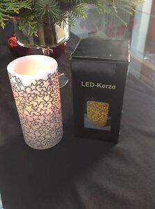 1 LED Kerze  Naturwachs  mit Folie Sterne Top Geschenkidee  Neu !