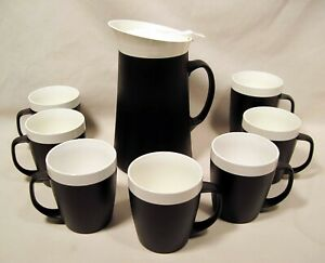DAVID DOUGLAS HOT 'N COLD BEVERAGE CADDY + 7 THERM WARE CUPS - Black & White MCM