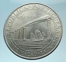1974 MACAU under PORTUGAL Coat of Arms Genuine Silver 20 PATACAS Coin i78809