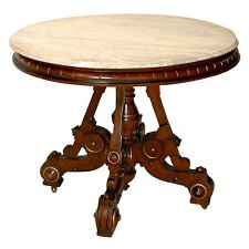 Victorian Walnut Table with Fancy Base & Marble Top #3101A
