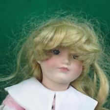 FRANKLIN MINT HEIRLOOM PORCELAIN DOLL PINK DRESS WEIGHT BLONDE HAIR NEEDS COMB