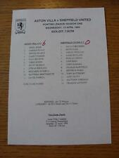 13/04/1994 Aston Villa Reserves v Sheffield United Reserves  (Single Sheet, Scor