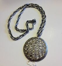 """Retro Vintage Metal Open Work Necklace on 30"""" Chain"""