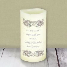 Personalised Flameless LED Candle Floral Spiral Bedroom Light Housewarming Gift