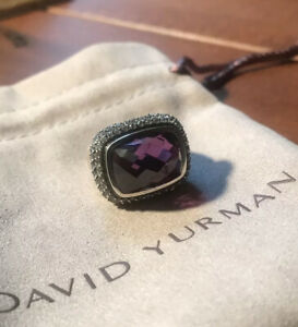 David Yurman Sterling Silver Waverly Ring Amethyst Grey Sapphires And DY Pouch