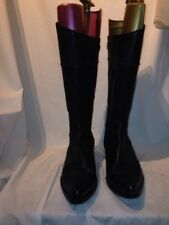 Bata Ladies Riding Black Leather Zip Pull On Boots Uk 6 Ref Bag 04