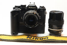 Nikon Nikkor FM2 N 50mm F2 + 135mm F3.5 Kit MD-12 Grip 35mm Camera -BB 405-