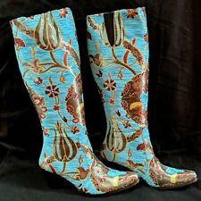 Ottoman Turkish Tulip Pattern Knee High Tapestry Boots Size 38