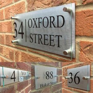 Transparent Customize Home Number Signage With Silver Aluminum Backing Panel New