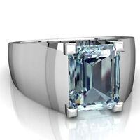 22K Solid White Gold Natural Aquamarine Gem Stone Men's Wedding Ring #011265