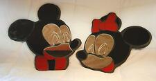 """Lot Of 2 Mickey & Minnie Mouse Acrylic/Mirrored 20"""" Decorative Wall Hangings"""