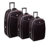 Reisekoffer, Koffer, Trolly, Set, Brilliant, mit Dehnfalte 3tlg. Farbe, schwarz