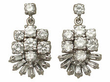 1.28 ct Diamond and 18 ct White Gold Drop Earrings - Vintage Circa 1960