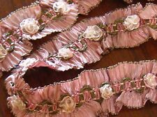 RARE 20s RIBBONWORK FRENCH PLEATED RUCHED SILK&RIBBON w/HndMd ROSETTES~EX COND