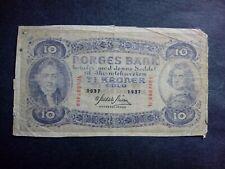 NORWAY 10 KRONER 1937 BANKNOTES