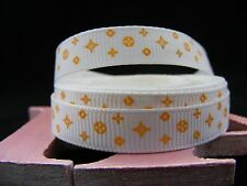 "3/8"" (9mm) Printed Grosgrain Ribbon  - By the Meter-  #4570 White/Gold Shapes"