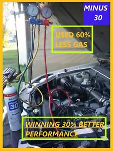 Replacement  Auto AC Gas is (HYCHILL MINUS 30 Net 425 grams use 60% less.