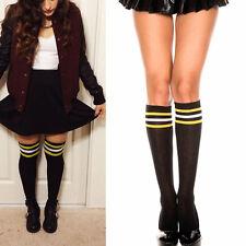 Solid Knee High Striped Yellow/White Cheer Costume School Girl Socks Sheer OS US