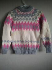 Vintage Womens NORLANDER Wool Sweater Nordic Fair Isle Winter Norway M/S Pink