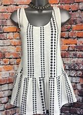 NEW NEXT 14 cream peplum jersey sleeveless tunic blue floral stripe embroidery