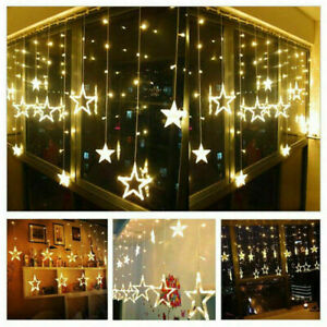 138 LED Twinkle Star Curtain Window Fairy Lights Christmas Party Wedding Indoor
