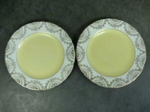 2 GILDED CHINTZ SIDE PLATES -YELLOW CENTRE-16cm