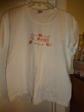 Anvil Ladies Size Large White with Peach Sea Shells & Ft Myers Beach Shirt Top
