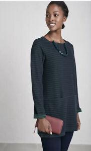 Seasalt Gentle Wave Stripe Tunic Top, Tregurrow Dark Night Size 24 Plus